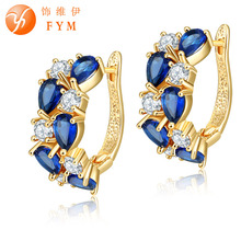 FYM New Luxury Rose Gold Color Multicolor Hoop Earrings For Women with Colorful Blue Zircon Crystal Jewelry Statement Earrings