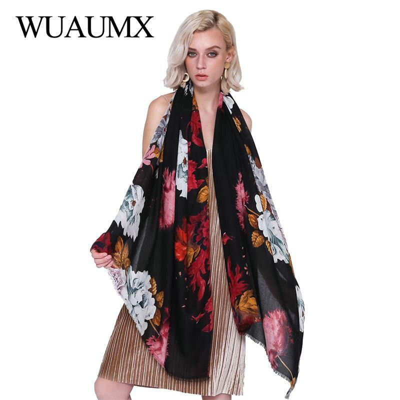Wuaumx Elegant Foulard Femme Cotton Linen Scarf Women Floral Peony Print Head Scarfs Satin Scarves Female Autumn Winter Shawls