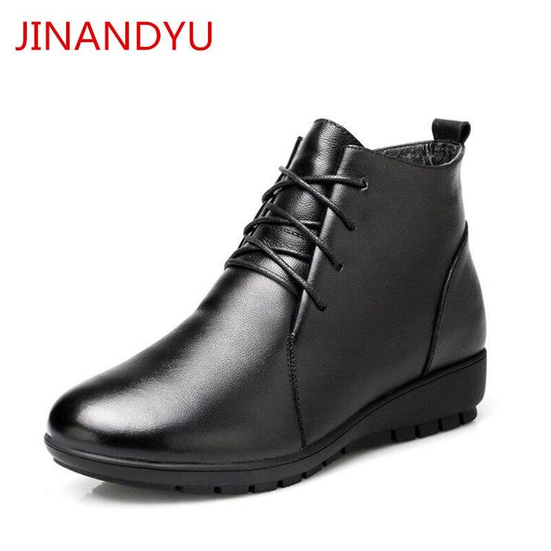 Mujer Cuir Noir De Chaussures 2 3 Bottes Véritable 4 Laine En Cheville Neige Femmes Pour D'hiver Zapatos Femme Dames 1 qUSVMzp