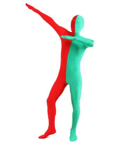 Body rouge et vert complet Spandex Lycra fendu Zentai costume seconde peau