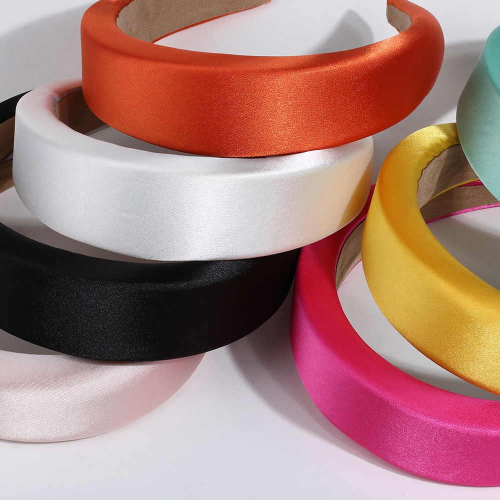 Fashion Women Glossy Satin Headbands Solid Thick Sponge Plastic Pad Hair Band N7