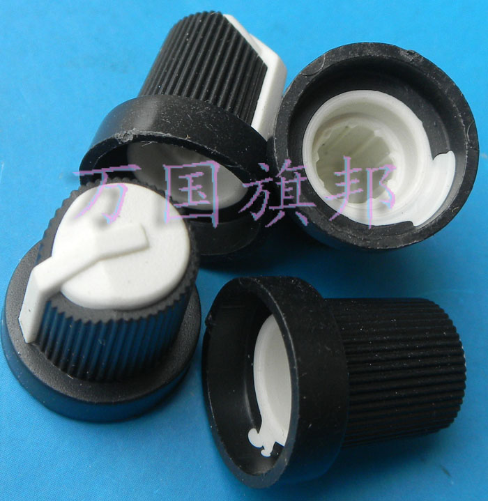 Free Delivery.Environmentally friendly plastic potentiometer knob high 16 mm diameter 15 mm black and white