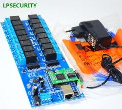 LPSECURITY inteligente hotel CCTV Ethernet RJ45 LAN de red WAN 16 placa de relé 16 remoto interruptor de relé módulo controlador