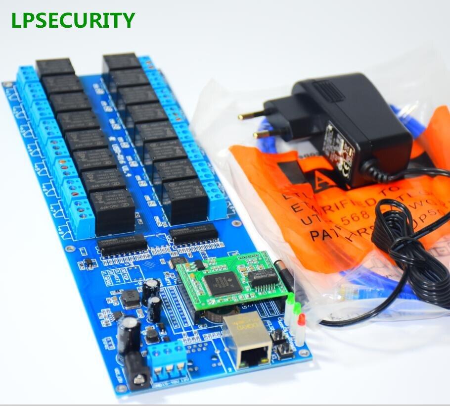 Lpsecurity Casas inteligentes Hotel CCTV Ethernet RJ45 LAN WAN 16 relé 16 remoto canal relé módulo controlador del interruptor