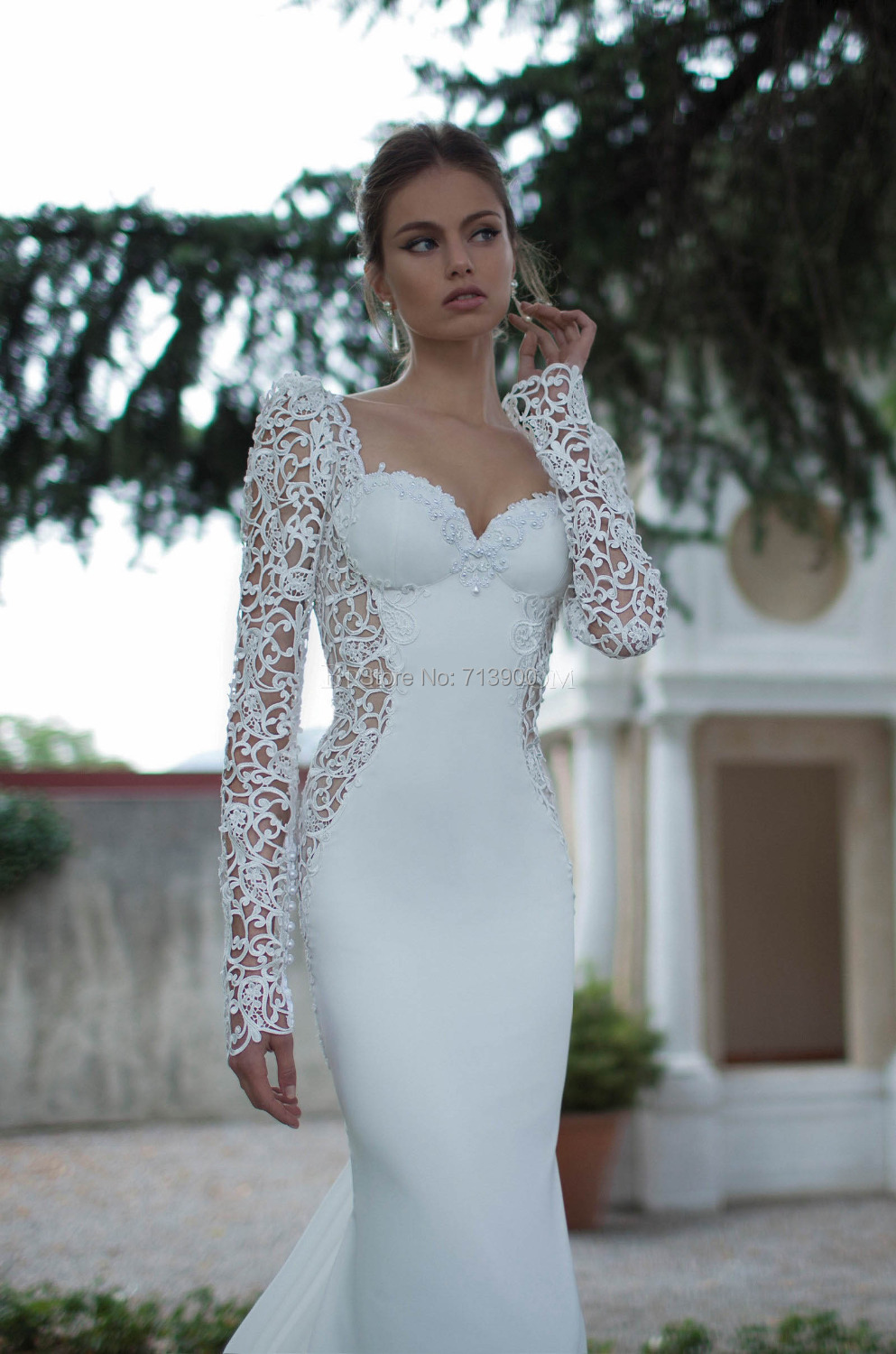 Hot Sexy Wedding Dress Lace Bridal Gown Chiffon Pearls Open Back ...