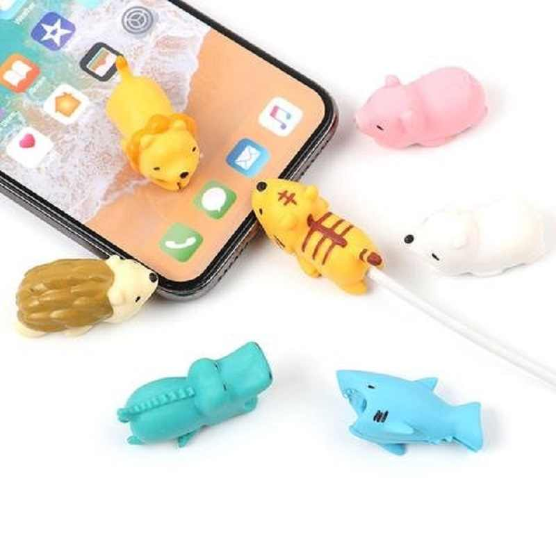 Dropshipping 1pcs Protector for Iphone cable Winder Phone holder Accessory chompers rabbit dog cat Animal doll model funny