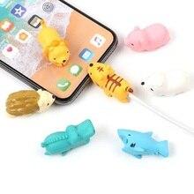Dropshipping 1 piezas Protector para Iphone cable Winder titular del teléfono de dientes de conejo perro gato Animal muñeca divertido