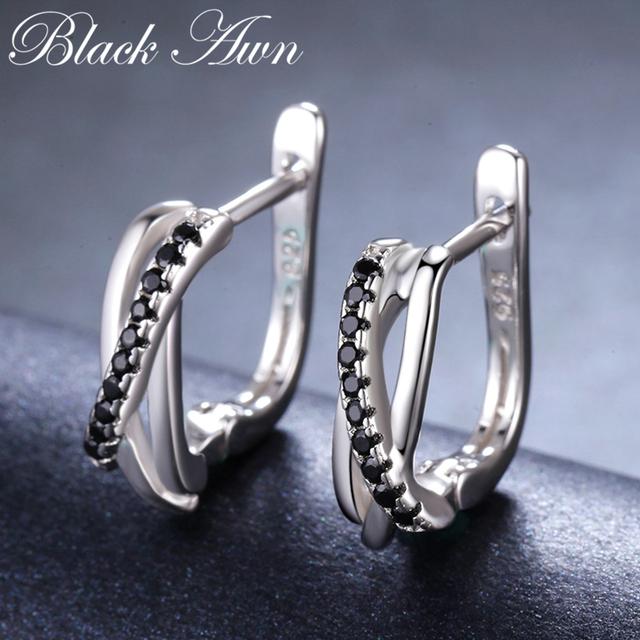[BLACK AWN] Genuine 925 Sterling Silver Earrings Hoop Earrings for Women Black Spinel Silver 925 Jewelry I023
