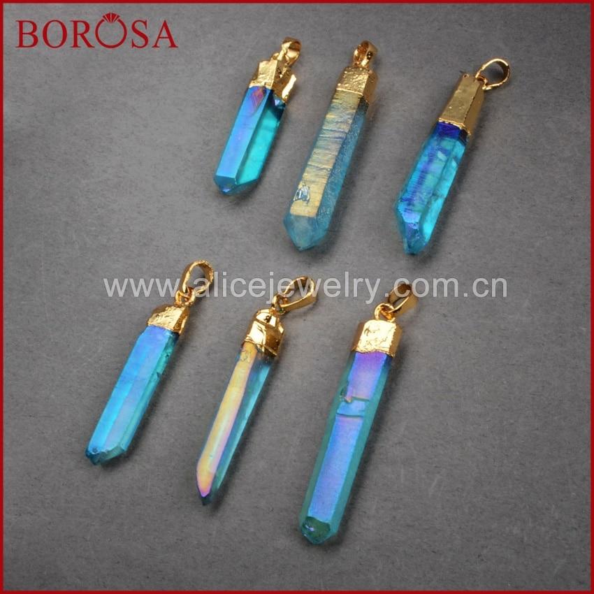 BOROSA 10PCS Druzy կախազարդ ոսկե գույն Titanium - Նորաձև զարդեր - Լուսանկար 3