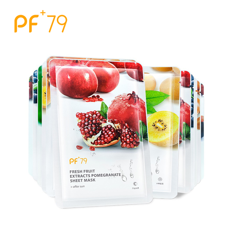 PF79 Fruit Face Mask Pure Natural Care Facial Mask Moisturizing Oil Control Whitening Wrapped Face Care Mask 12pcs Sheet Masks