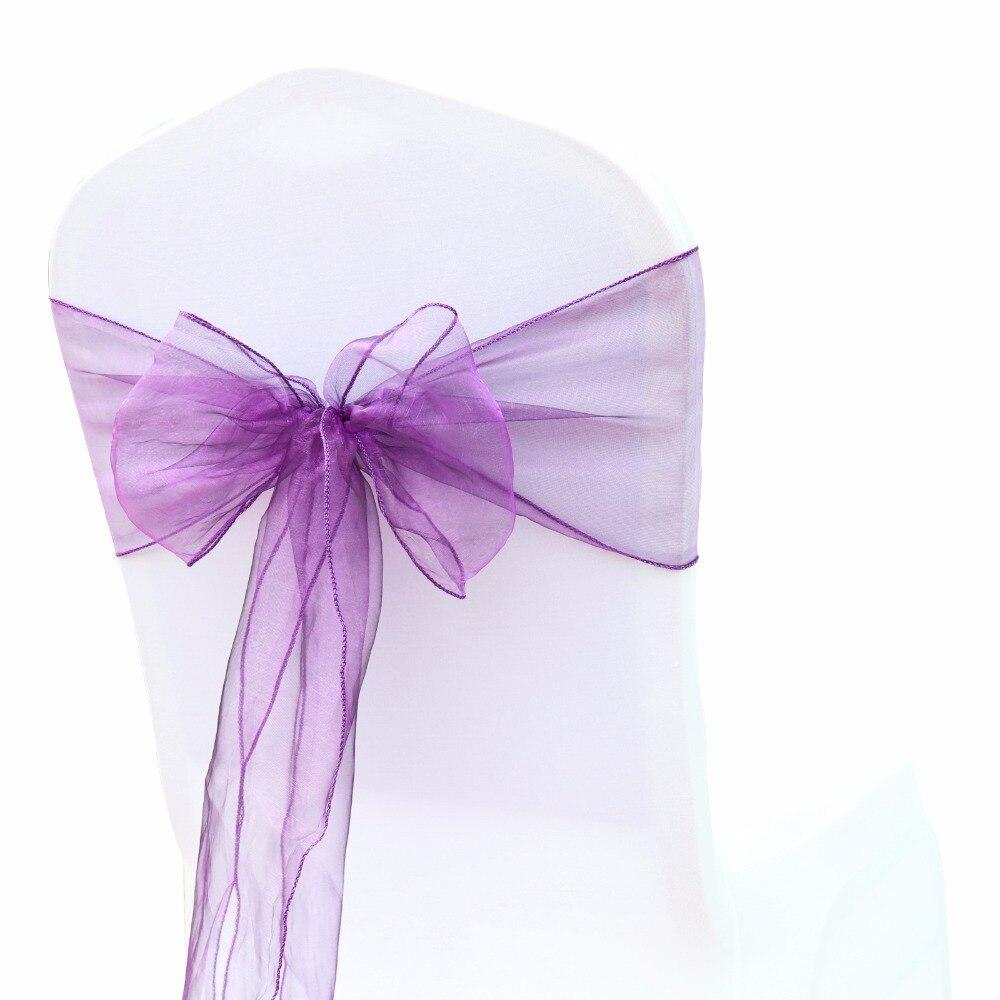 100Pcs Lot Cadbury Purple Wedding Organza Chair Cover Sashes Bow Sash Wedding Banquet Party Decoration Free