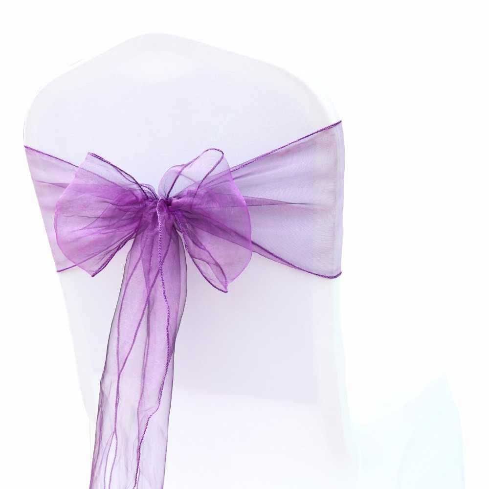 100 шт./лот Cadbury фиолетовые Свадебные накидка для стула из органзы с поясом, с бантом и поясом, свадебное украшение для банкета и вечеринки Бесплатная доставка