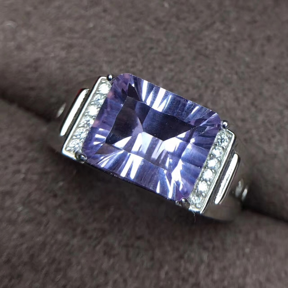 Мужское кольцо аметист кольцо Бесплатная доставка натуральный и настоящий аметист 925 серебро 10 * мм 8 мм большой драгоценный камень мужское