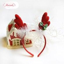 Raindo 2017 HOT Christmas Gift Kids Headbands Girls Antlers Hair Hoops Cute Fabrics Handwork Kids Xmas Decor Hair Accessories