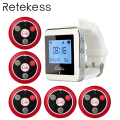 RETEKESS Wireless Waiter Calling System For Restaurant Service Pager System Guest Pager 1 Watch Receiver + 5 Call Button F3288B