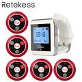 RETEKESS Беспроводная кнопка вызова официанта система для ресторана служебный пейджер система гость пейджер 1 часы приемник + 5 Кнопка вызова ...