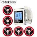 RETEKESS inalámbrico camarero llamado sistema de servicio de restaurante Sistema Localizador habitación busca 1 reloj RECEPTOR + 5 botón de llamada F3288B