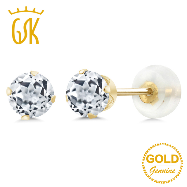 GemStoneKing Real 10K Yellow Gold Luxury Vintage Jewelry For Women 1.20 Ct 5mm Round Natural White Topaz Stud Earrings
