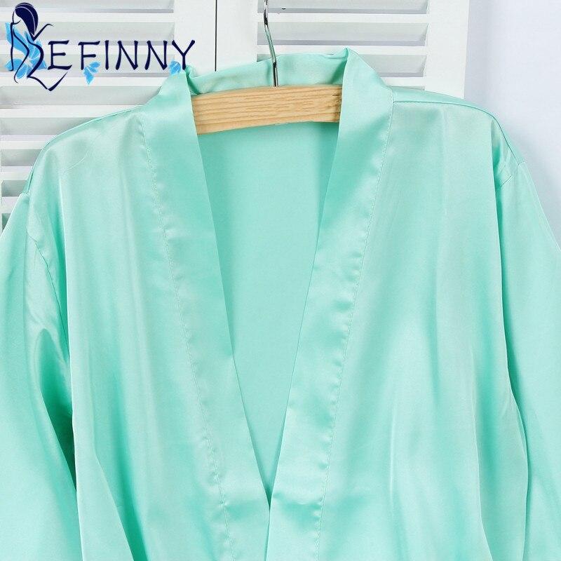 2018 Mid-sleeve Sexy Women Deep-V Nightwear Robes Smooth Lace Silk Female Mini Above Knee Bathrobes Girl Cool Summer Sleepwear