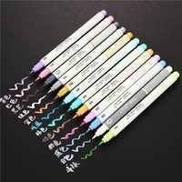 12 piunids/lote juego de rotuladores de Metal coloreado juego de rotuladores de arte pincel pluma de dibujo suministros de arte 04444