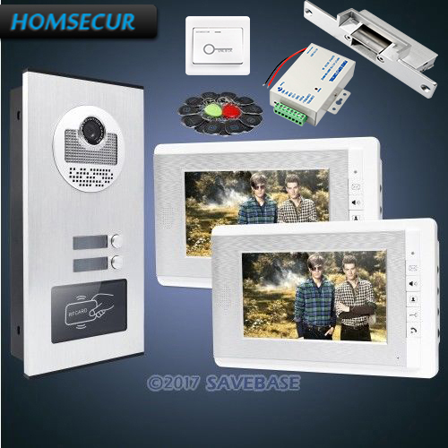 Homsecur 7 Многоквартирных Видео и аудио домофонов комплект + ЖК-дисплей Цвет Экран + Питание + кнопка выхода + удар замок для дома/без каблука