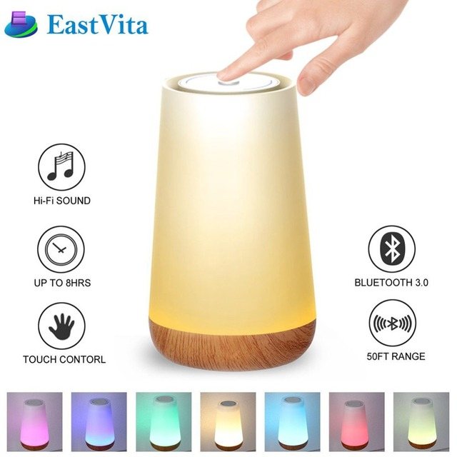 dimmable bedside lamp wireless eastvita led portable bluetooth speaker wireless touch control smart bedside lamp colorful dimmable night light