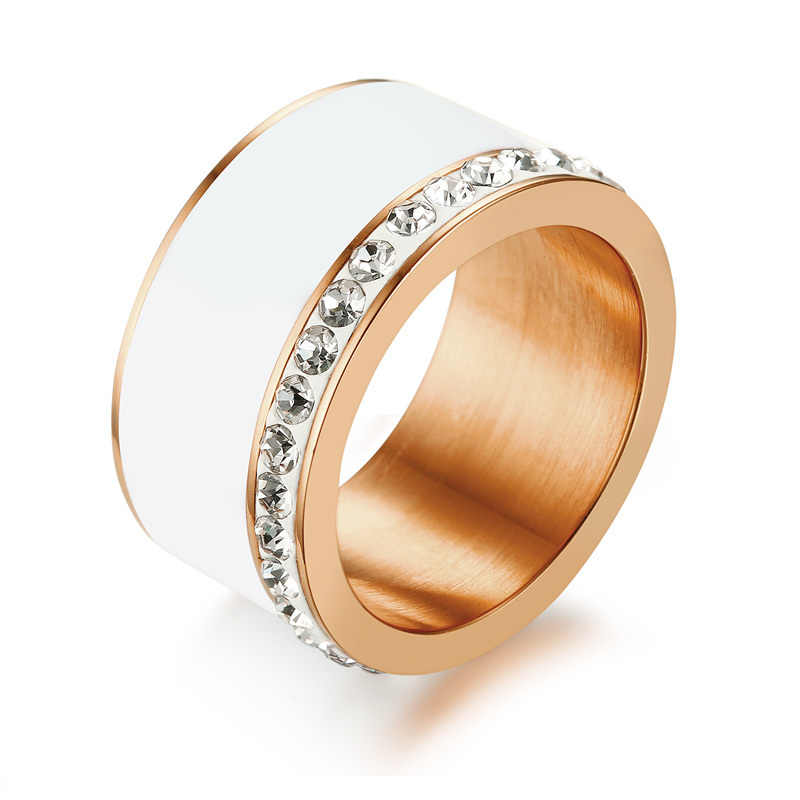Stylish Modern Wide Rings Ladies Rose Golden Stainless Steel CZ White Ceramic Inlay Ring for Womens Jewelry Anel  Accessories