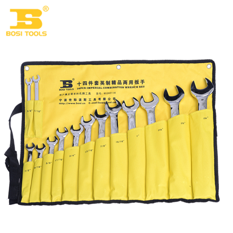 2016 Combination wrench BS392114 of Persia and Imperial combination spanner set of 14 open wrench open end wrenches BOSI Tools d 7pieces metric ratchet handle wrench set spanner gear wrench key tools to car bicycle combination open end wrenches 8mm 18mm