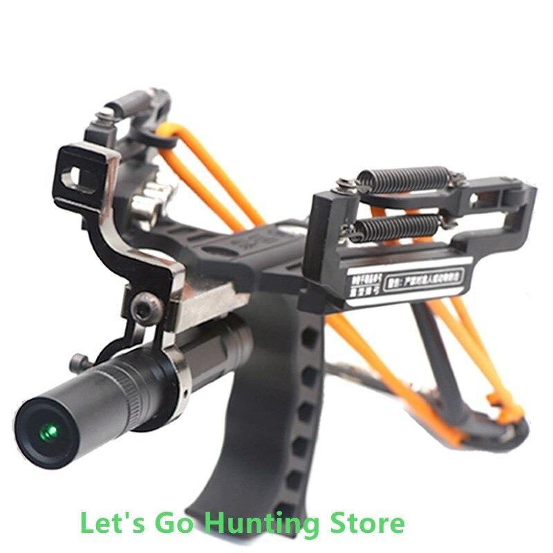 New Green Color Laser Slingshot High Velocity Black Hunting Bow Fishing Slingshot Shooting Catapult Sling Shot