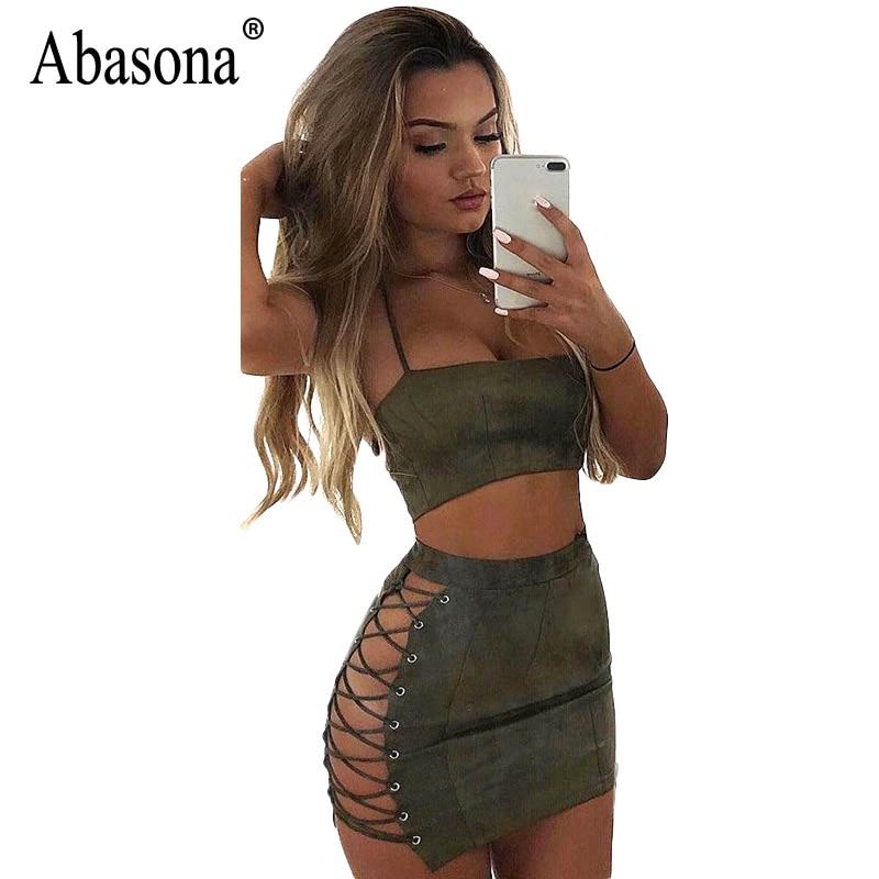 Abasona dames suede jurk zomer kanten tweedelige jurk set sexy partij club dragen halter bandage bodycon mini jurken badjas sexy