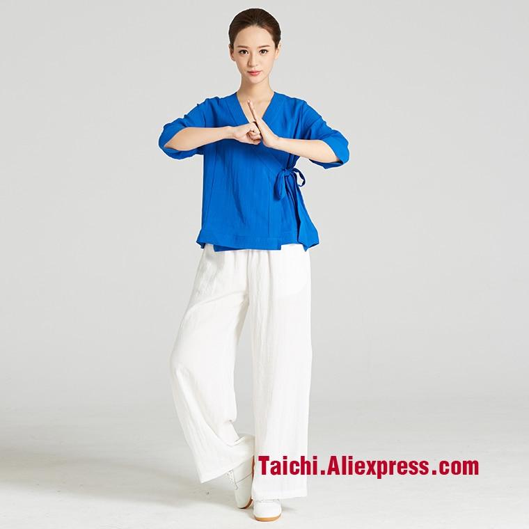 Tai Chi  Wudang Taiji Clothes Women  Robe Chinese Clothing Linen Martial Arts Uniform Summer Kunfu Unifrom,top+pants