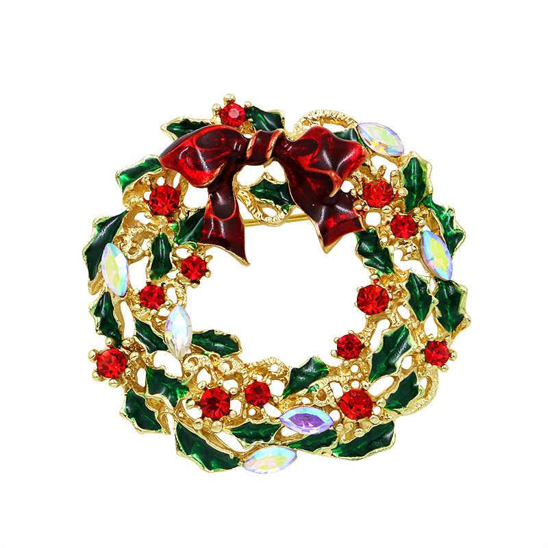 Baiduqiandu emaye kardan adam noel ağacı broş Pin noel hediyesi s Jingle çan çizmeler broş Charm kristal noel hediyesi