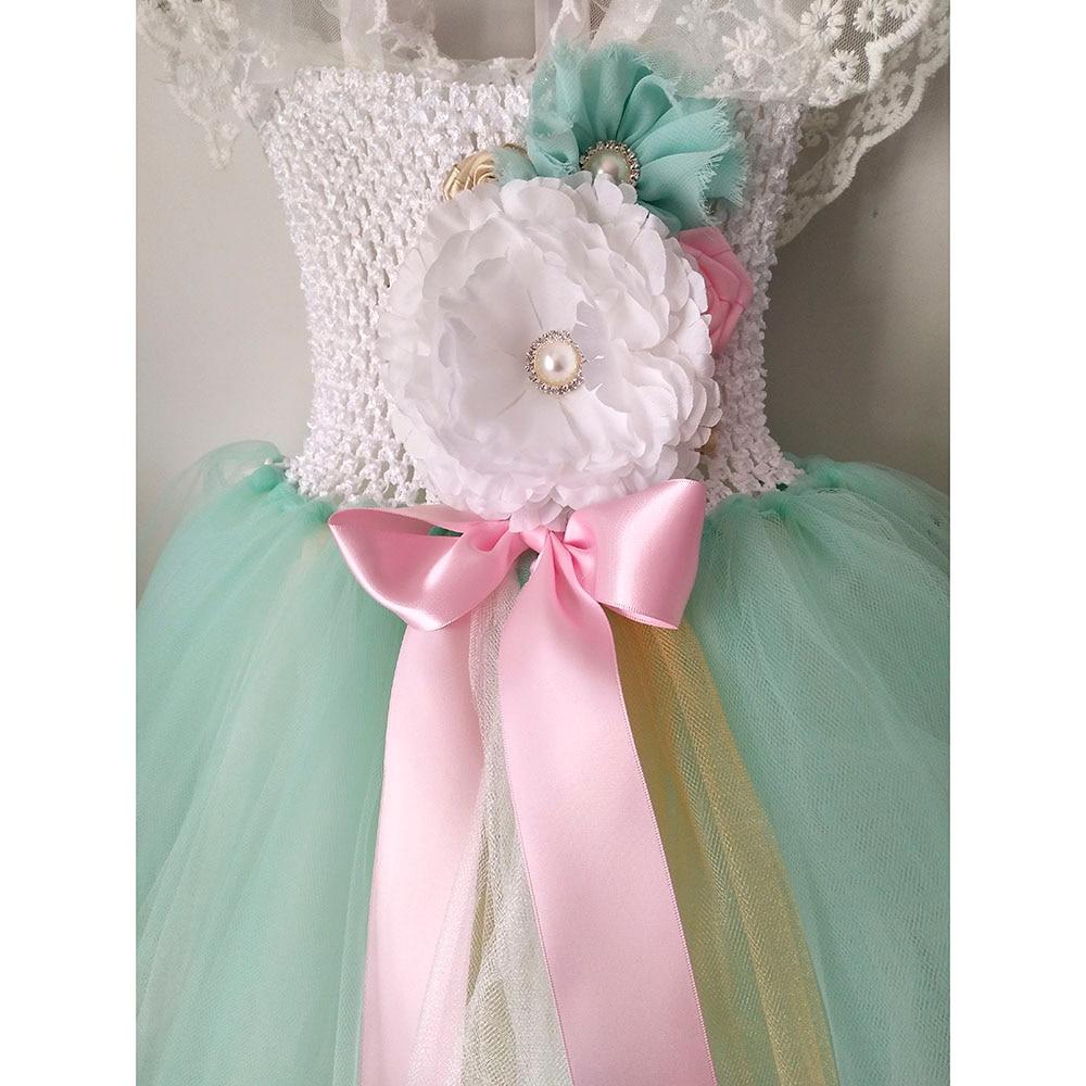 Handmade Mint Green Girl Lace Flower Tutu Dress Princess Baby