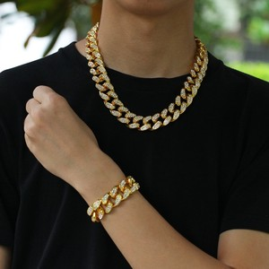 Image 2 - Uwin 20mm Heavy Miami Cuban Link Chain Necklace & Bracelet Set Full Iced Out Rhinestones Bling Bling Hiphop Jewelry For Men