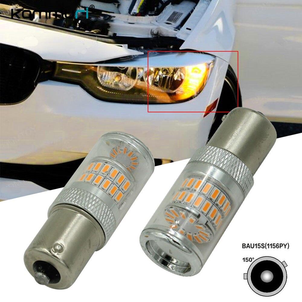 KAMMURI Error Free Amber BAU15S 7507 PY21W 1156 LED Bulbs Fit BMW F30 F32 3/4 Series Turn Signal Lights ijdm amber yellow error free bau15s 7507 py21w 1156py xbd led bulbs for front turn signal lights bau15s led 12v