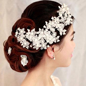 Urocza ślubna akcesoria do włosów perła kryształowa biżuteria do włosów ślubna Korea styl biżuteria do włosów w kształcie kwiatów drut szpilka tiara JL tanie i dobre opinie FORSEVEN Ze stopu cynku TRENDY Hairwear Moda 13679 PLANT