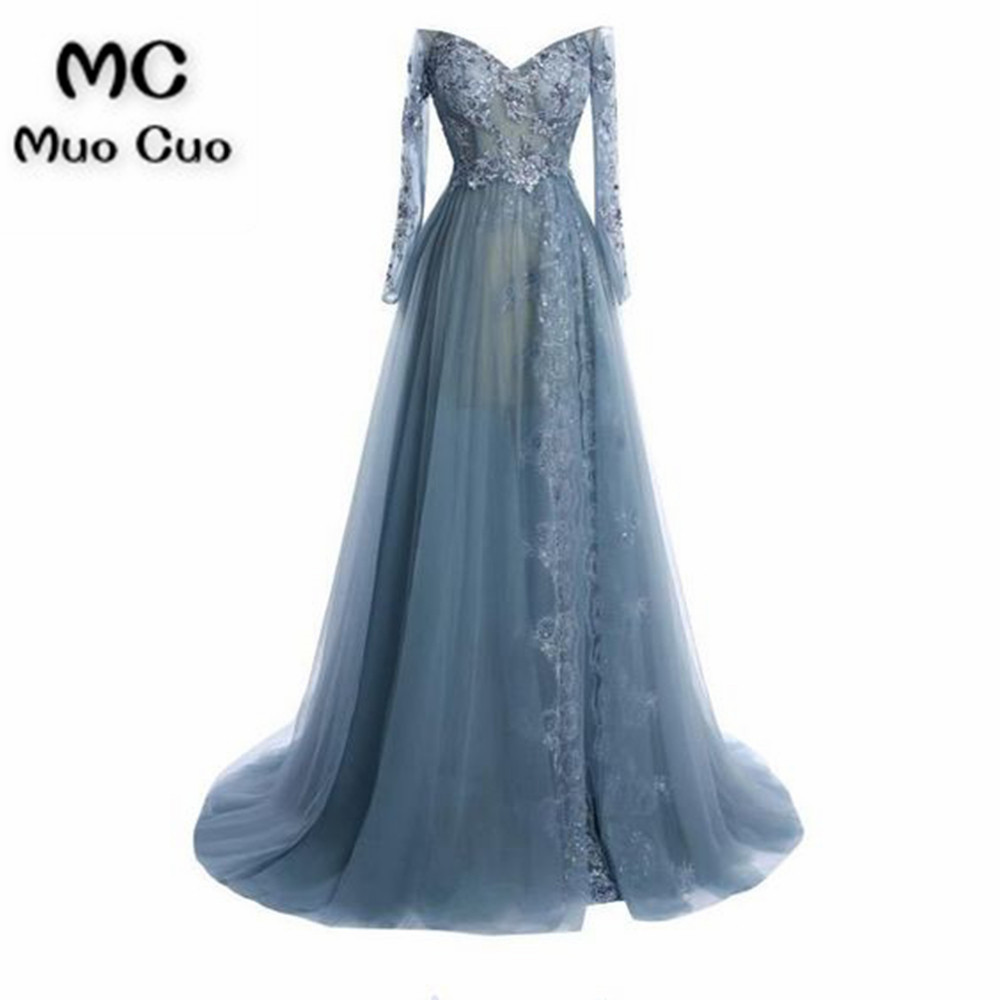 2018 Off Shoulder   Evening     Dresses   Long with Long Sleeves Appliques Lace A-Line Formal Prom   Dress   for Women 100% Real Sample