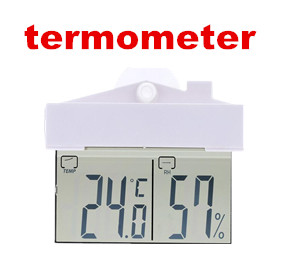 LCD Display Window Thermometer Hydrometer Indoor/Outdoor Weather Station with suction cup and adhesive tape for easy mounting