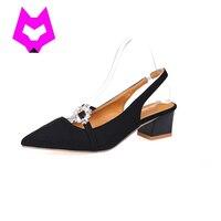 ツーピースエレガントなスタイルバックルスタイル手作りラインストーンダイヤモンドパールの靴厚いかかと尖ったつま先女性の靴平方ヒール
