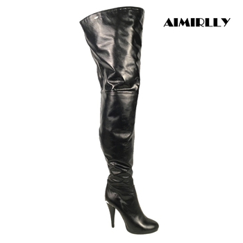 Women's boots Winter High Heels Thigh High Over the Knee Boots Round Toe Full Zipper Stilettos Black Sexy Female Shoes