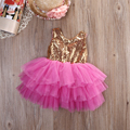 Multilayer Lace Summer Baby Girl dress Sequins Bow Backless Party Prom Princess Tulle Tutu Wedding Dress Children girl clothing