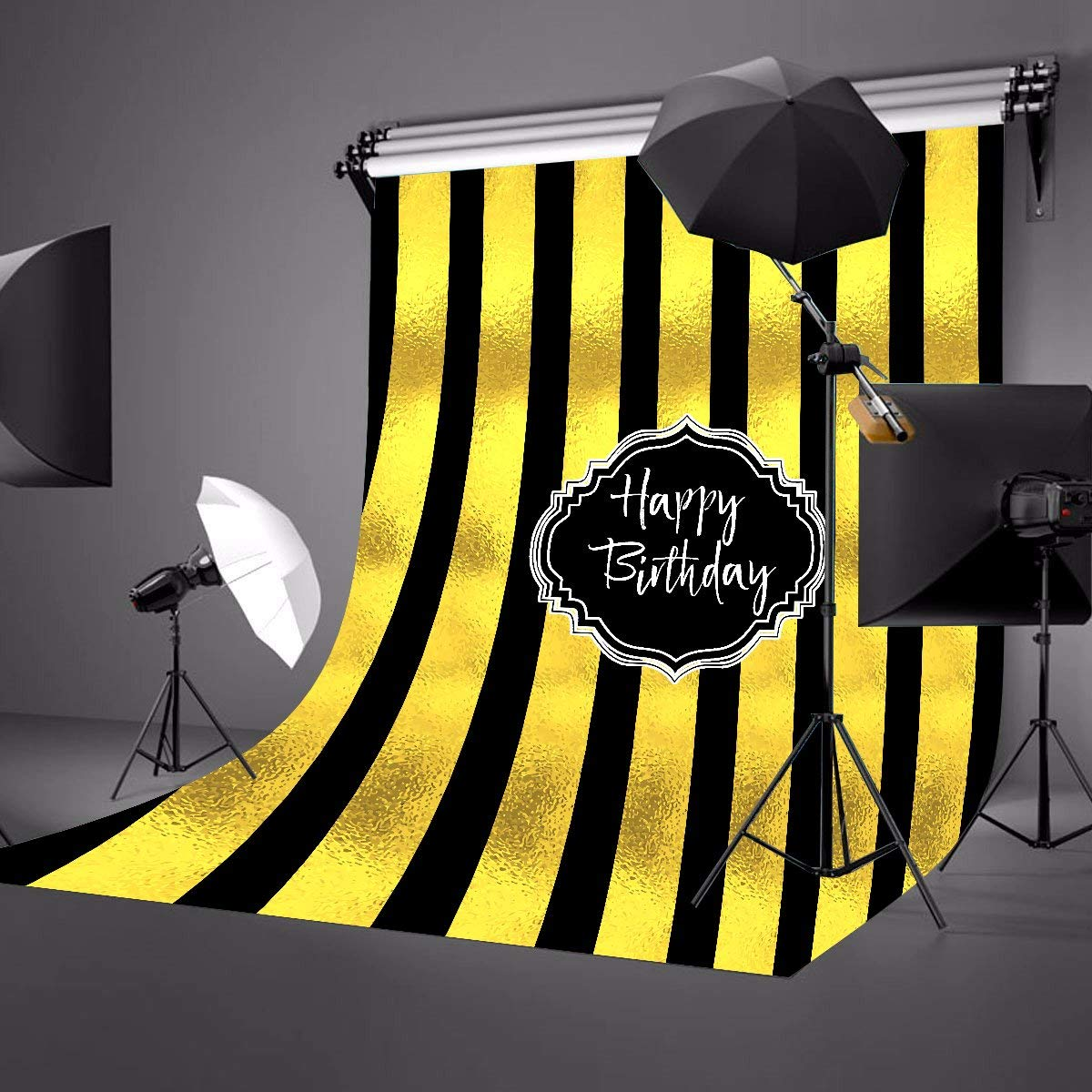 150x210cm Happy Birthday Photography Background Black and Golden Vertical Stripes Backdrops Studio Props Birthday Party in Photo Studio Accessories from Consumer Electronics