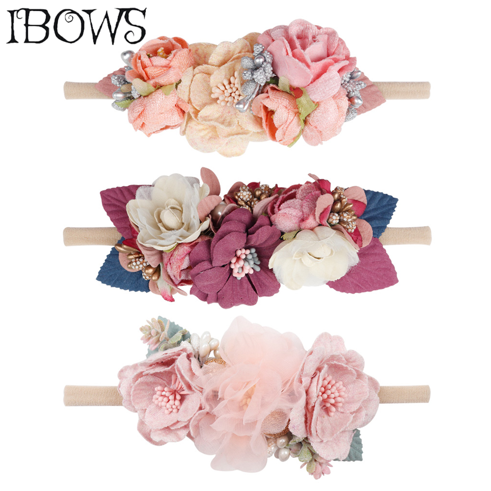 IBOWS Hair Accessories Lovely Baby Headband Fake Flower Nylon Hair Bands For Kids Artificial Floral Elastic Head Bands Headwear