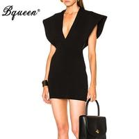 Bqueen 2017 New Arrival Solid Black Lady Dress Casual Fashion Deep V Mini Summer Women Bandage