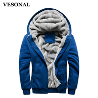 VESONAL Autumn Winter Thick Velvet Hoodie Casual Men Jacket Coat Solid Warm Soft Male Mens Jackets