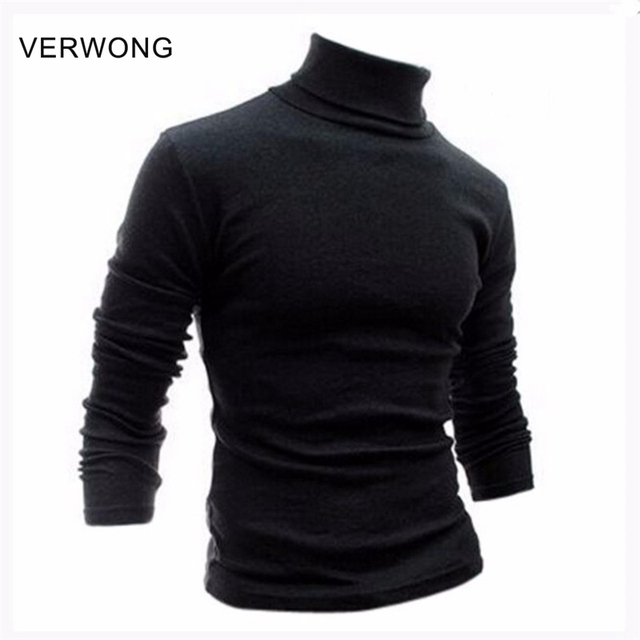 Men's Clothing Basic Turtleneck Shirt Slim Male Sanded Turtleneck Long Sleeve Shirt 100% Cotton Thermal Underwear by Verwong