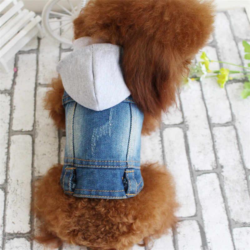 Кота собаки любимчика одежда свитер голубые джинсы из денима, щенков, одежда, куртка костюм одежда