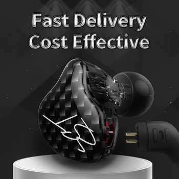 KZ ZST Dual Driver Earphone Dynamic And Armature Detachable Cable Monitors Noise Isolating HiFi Music Sports Earbuds 1DD+1BA
