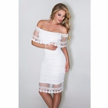 Для женщин летнее платье 2018 г. пикантные с открытыми плечами Кружево вечерние белые платья Bodycon платья партии