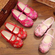 Модная дышащая Нескользящая повседневная детская обувь с вышивкой в стиле «Старый Пекин»; детская обувь без застежки для девочек